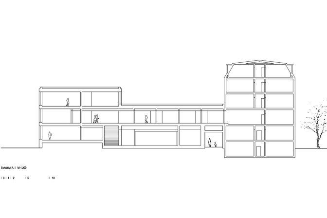 Schnitt durch den Neubau des Brettsperrholz BBS Bauwerks