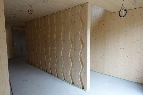 Sichtbares Brettsperrholz und dekorative Brettschichtholz Elemente © Schafferer Holzbau GmbH