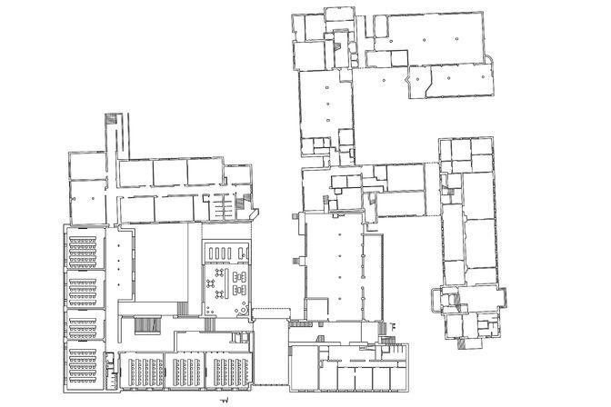 Grundrissplan mit dem Neubau und der Kernsanierung