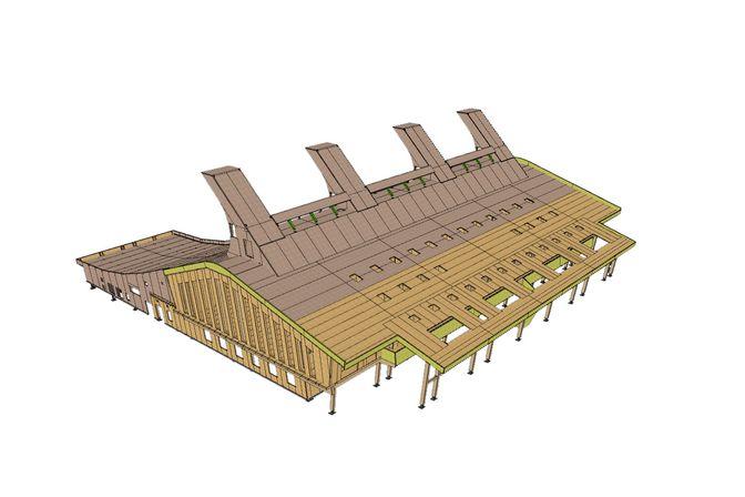 3D Rendering des Gebäudes aus Brettsperrholz BBS und BSH Elementen