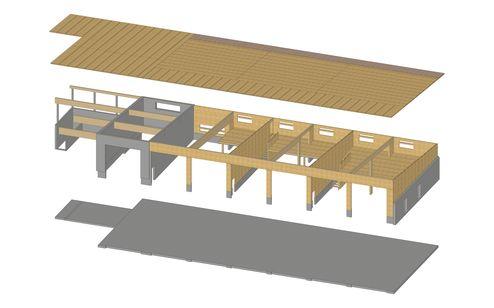 3D Rendering des gesamten Gebäudekomplexes