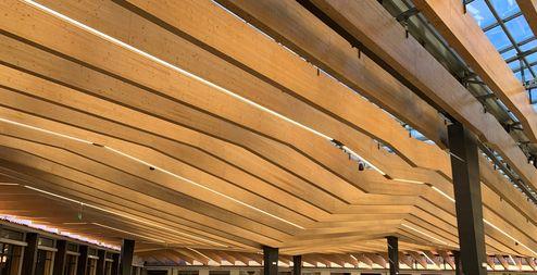 Panneaux 3 plis en bois massif binderholz sur ossature métallique © binderholz