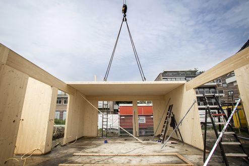Die gesamte tragende Struktur wurde in Brettsperrholz BBS Elemente in Wohnsichtqualität erstellt