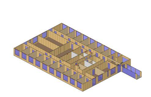 3D Renderings der Gebäudestruktur und dem ersichtlichen binderholz Brettsperrholz BBS 125 Raster