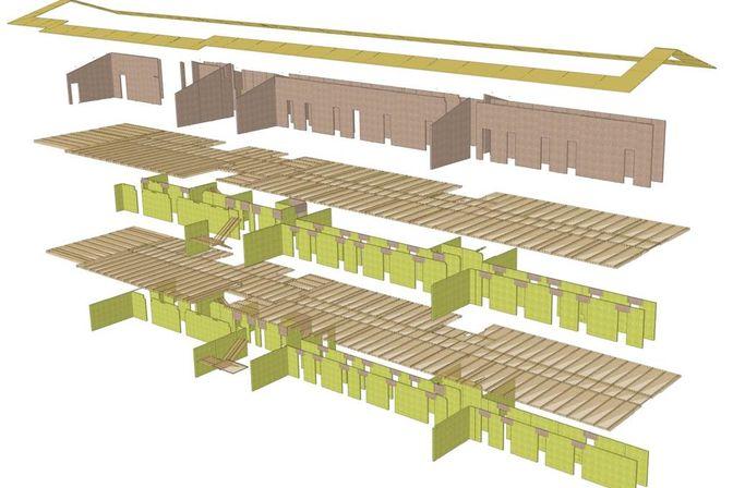 Explosionszeichnung der gesamten tragenden Elemente aus binderholz Brettsperrholz BBS