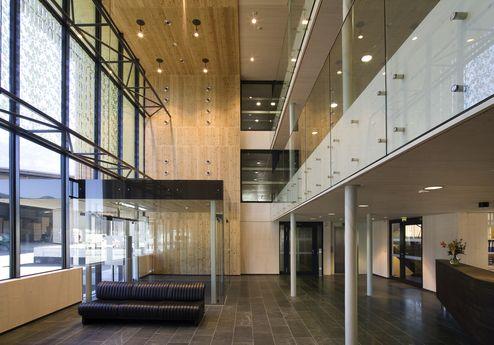 binderholz headquarter Empfangsbereich mit Massivholzplattenschalung