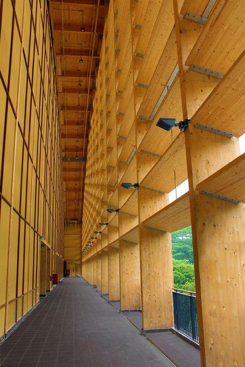 Vorgesetzte Holzfassade für eine natürliche Beschattung