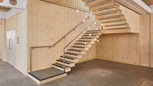Stiegenhaus aus Brettsperrholz BBS © Waugh Thistleton Architects