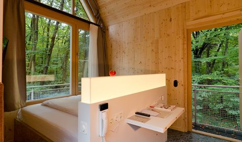 Blick aus einer Baumhaussuite in den umliegenden Wald