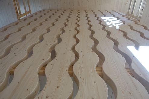 Dekorative Brettschichtholz Elemente im Stiegenhaus © Schafferer Holzbau GmbH