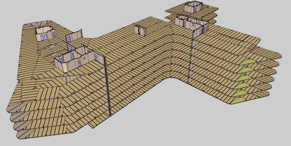 BIM Gebäude mit BBS Elementierung © binderholz