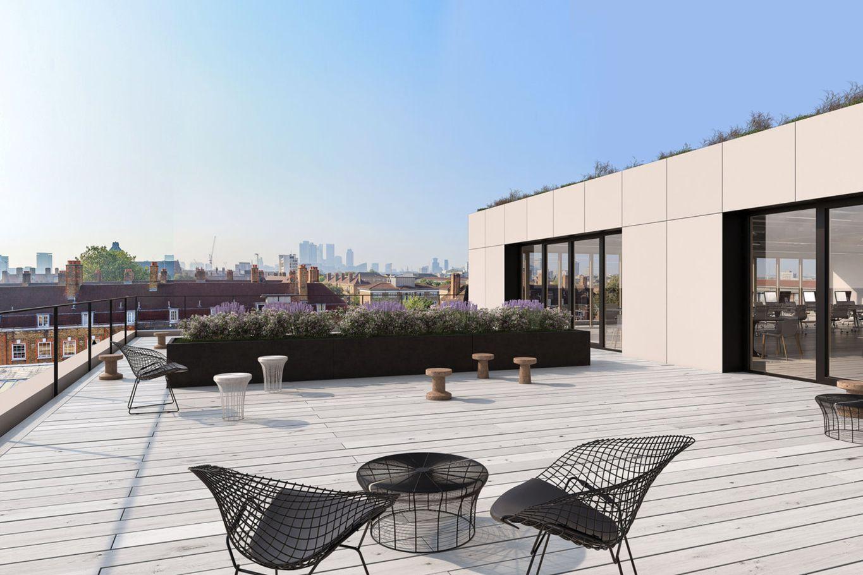 Dachterrasse mit Blick auf die Stadt © B&K Structures Ltd. Peveril House