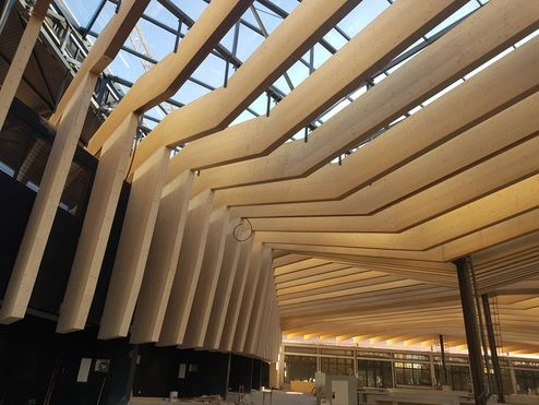 Ce bâtiment novateur a été érigé selon un mode de construction hybride alliant poutrelles d'acier et éléments en bois © R6 Living