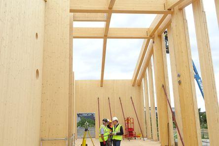 Wand-, Dach- und Deckenelemente aus binderholz Brettsperrholz BBS © b&k structures